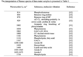 The interpretation of Raman spectra of dura mater samples is presented in Table 1